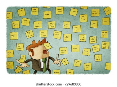 illustration of businessman with wall full of reminder notes, concept of a lot of work.