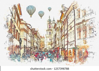 illustration of a busy street in Prague in the Czech Republic. Hot air balloons are flying in the sky.
