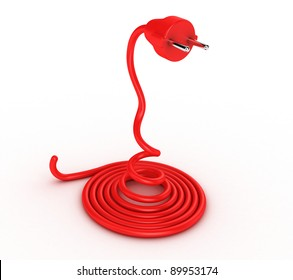 Illustration of a cable with a plug in the form of a snake