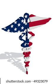 Illustration of caduceus representing US healthcare bill