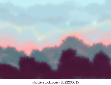 An illustration of a California sunrise with trees and hills in the front, with pink, white and blue skies above.