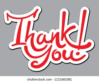 illustration of calligraphic handwritten lettering sticker thank you