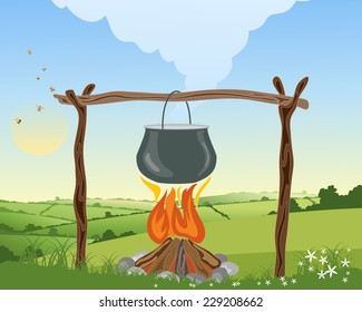 an illustration of a camp fire with pot on a wooden frame boiling in a landscape with patchwork fields and blue sky