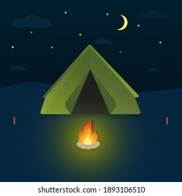 Illustration of camping in night time with beautiful view on sky. Camping evening time.