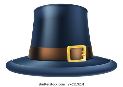 An illustration of a capatain thanksgiving pilgrim puritan hat