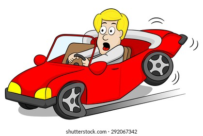 illustration of a car driver slams on the brakes