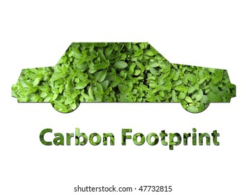 An illustration of a car made up of green leaves to represent environmental issues or carbon footprint.