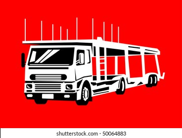 illustration of a car transporter truck set in red background