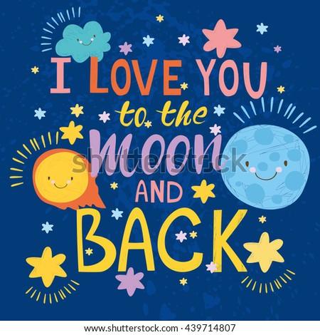 Illustration Card Love You Moon Back Stock Illustration - Royalty