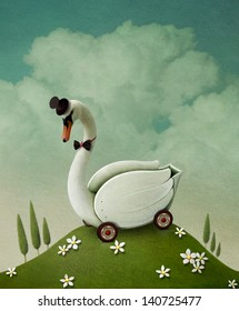 Illustration , card or poster with  toy swan cart.