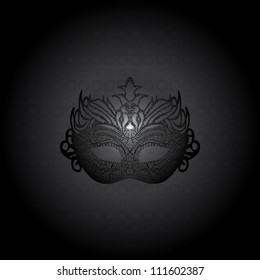 Illustration carnival mask on black background. Raster version