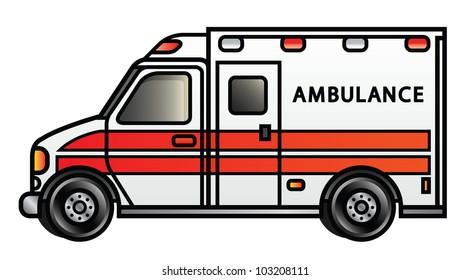 Illustration of a cartoon ambulance. Raster.