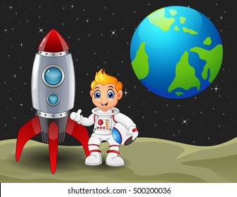 illustration of Cartoon astronaut boy holding a helmet and rocket space ship on the moon with planet earth in the background