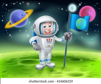 An illustration of a cartoon astronaut holding a flag on a moon or planet with alien planets in the background
