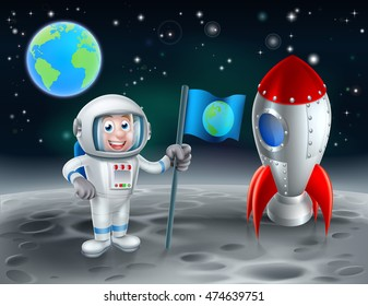 An illustration of a cartoon astronaut holding a flag with the earth on it and a retro space rocket ship landed on the moon with the planet in the background