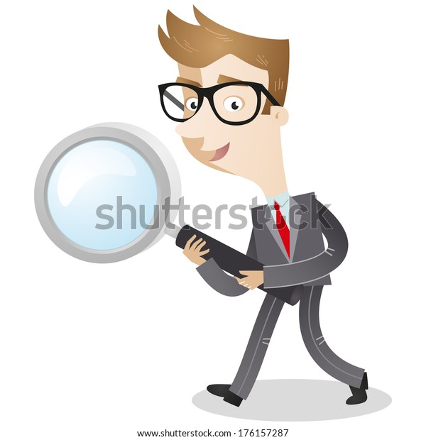 Illustration of a cartoon businessman walking and with a magnifying glass in his hands (vector also available).