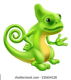 Illustration of a cartoon chameleon lizard character standing and showing something with their hand.