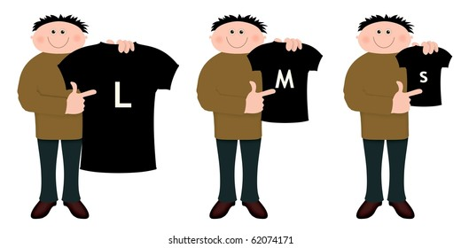 Illustration of a cartoon character holding three sizes of shirts