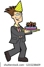 Illustration cartoon cheerful father bearing cake with candles
