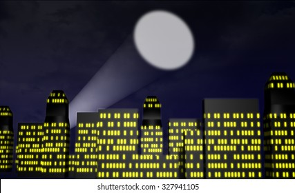 Illustration of a Cartoon City with a searchlight