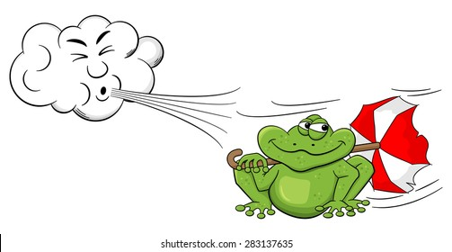 illustration of a cartoon cloud blowing wind on a frog with umbrella