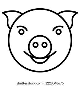 Illustration of the cartoon contour pig head icon