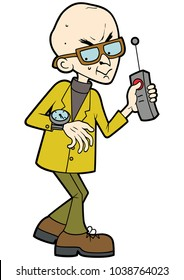 Illustration cartoon evil professor, looking at his watch, keeping his finger on the remote controller button