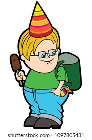 Illustration cartoon fat boy with a backpack, in a holiday paper cone hat