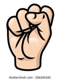 Illustration of a cartoon fist  raised upwards. Raster.