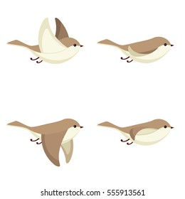 Illustration of cartoon flying bird sprite sheet isolated on white background. Can be used for GIF animation
