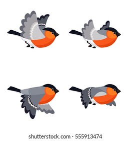 Illustration of cartoon flying bullfinch sprite sheet isolated on white background. Can be used for GIF animation