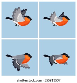 Illustration of cartoon flying bullfinch sprite sheet. Can be used for GIF animation