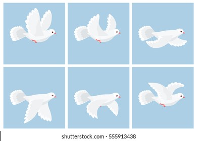Illustration of cartoon flying dove animation sprite sheet. Can be used for GIF animation