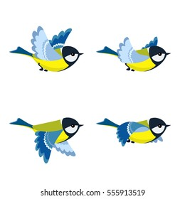 Illustration of cartoon flying great tit sprite sheet isolated on white background. Can be used for GIF animation
