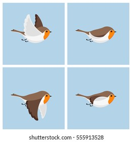 Illustration of cartoon flying robin sprite sheet. Can be used for GIF animation