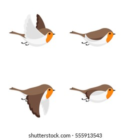 Illustration of cartoon flying robin sprite sheet isolated on white background. Can be used for GIF animation