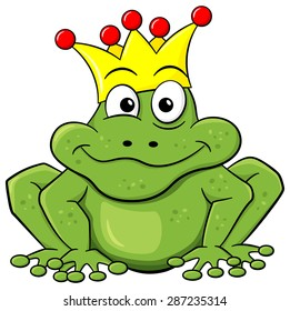 illustration of a cartoon frog prince waiting to be kissed