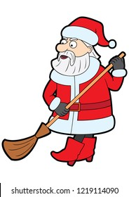 Illustration cartoon funny Santa with a wiping broom