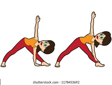 Illustration cartoon girl doing utthita trikonasana pose. Two variations