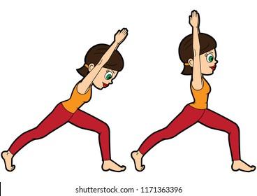 Illustration cartoon girl doing virabhadrasana I. Two variations