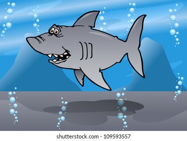 illustration of a cartoon gray reef shark on sea background