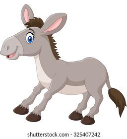 Illustration of a cartoon happy donkey