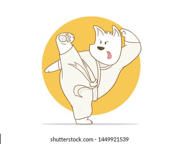 Illustration of a cartoon Karate dog kick a  with a white background