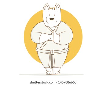 illustration of Cartoon karate dog line art on a white background