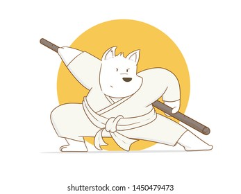 Illustration of Cartoon Karate dog using toya on a white background