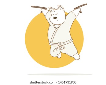 illustration of Cartoon Karate Dog using weapon to fight on a white background