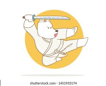 illustration of Cartoon Karate Dog using sword on a white background