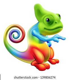 Illustration of a cartoon rainbow chameleon mascot standing and pointing