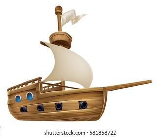 An illustration of a cartoon sailing ship boat