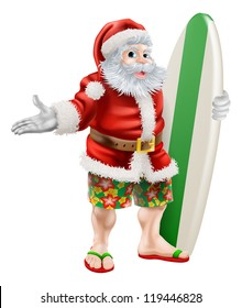 An illustration of  a cartoon Santa in beach board shorts holding a surfboard